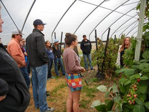 Jennifer talked about the raspberry project and then the group harvested some berries.