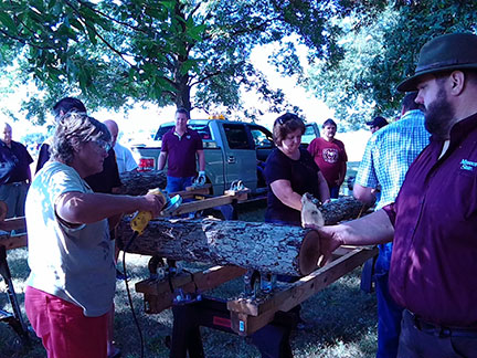 Dr. Goerndt, right, helps Susanne Howard, horticulturist at the Missouri State Fruit Experiment Station in Mountain Grove, drill holes in an oak log for innoculation with spawn.