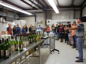 C. J. Odneal led the tour of the MSU Winery and Distillery for the students.