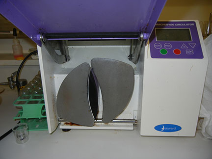 This is the stomacher machine - one of the three methods used to process juice. The other two were hand pressing in a ziploc bag and hand pressing then wringing through cheesecloth.