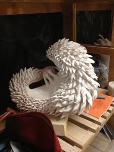 Lin, Yi-huei's ceramic sculpture in-progress