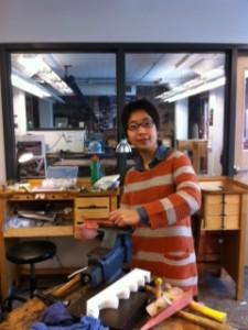 Ruby (Yu, Meng-ju) working in MSU Brick City Metals-jewelry studios