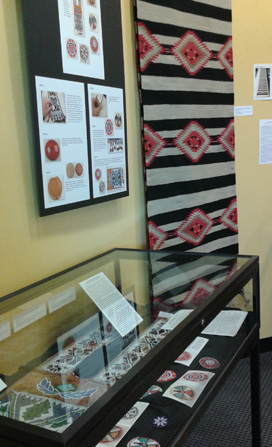Library featuring artifacts, work from study away trips