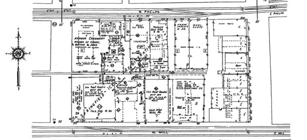 This 1957 map shows the Mill Street location of the Springfield Ice and Refrigerator Company.