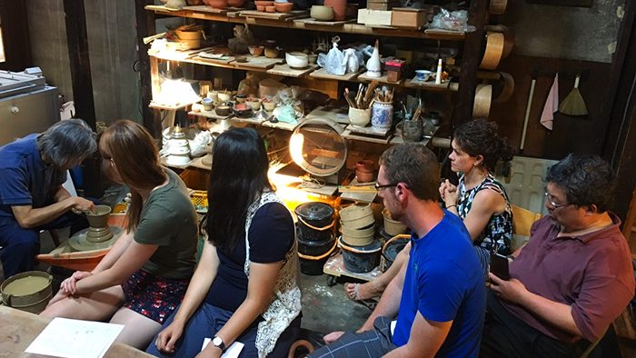Study away group in a Japanese pottery studio