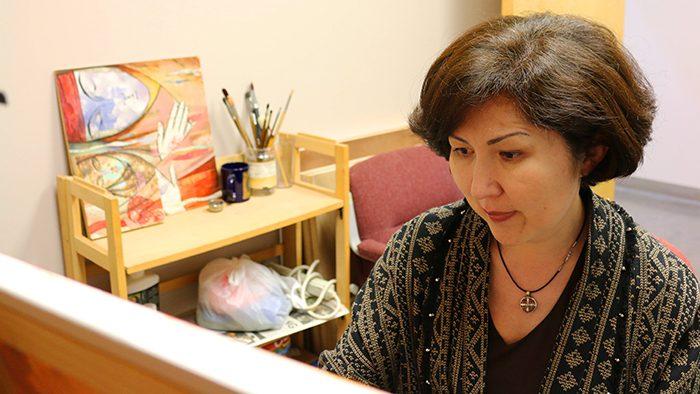 Ainura Ashirova in her studio at Brick City