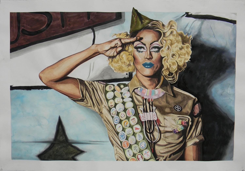 """Crystal Methyd"" water media painting by Trevor Doell"