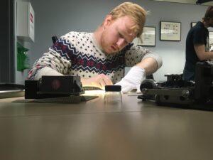 Zach Neuman working on film