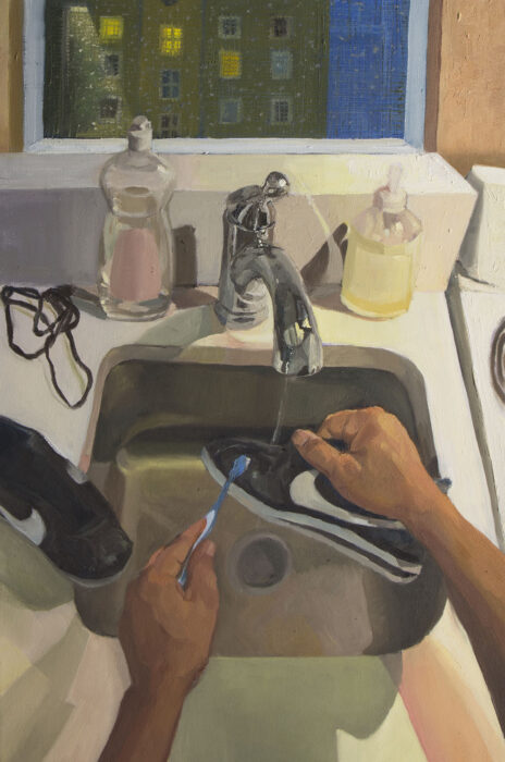 Painting of a person scrubbing a sneaker with a toothbrush over a sink (Art credit: Mikey Yates)