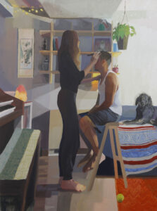 Painting of a woman standing, doing the hair of a man sitting on a step ladder (Art credit: Mikey Yates)