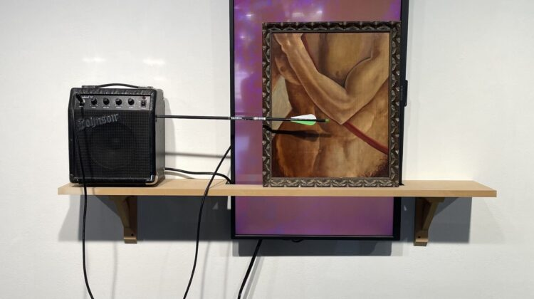 """Joe Hedges's """"Centaurs"""" features a guitar amplifier, a television with video, and an oil painting on canvas."""