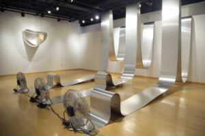 """A previous installment of Sizhu Li's """"Moonment"""" shown at Howard County Arts Council in October 2020. """"Moonment"""" is a site-specific exhibition that varies depending on gallery space. (Source: https://www.sizhuli.com/News-动态/)"""