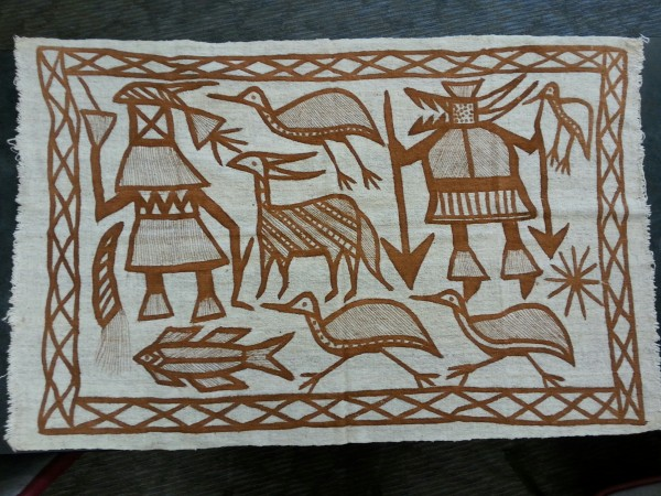Fila Cloth with Hunting Designs Senufo culture Late 20th to early 21st century Cotton and pigment, L. 123 cm x W. 2 mm x H. 80 cm BFPC collection #2012.51