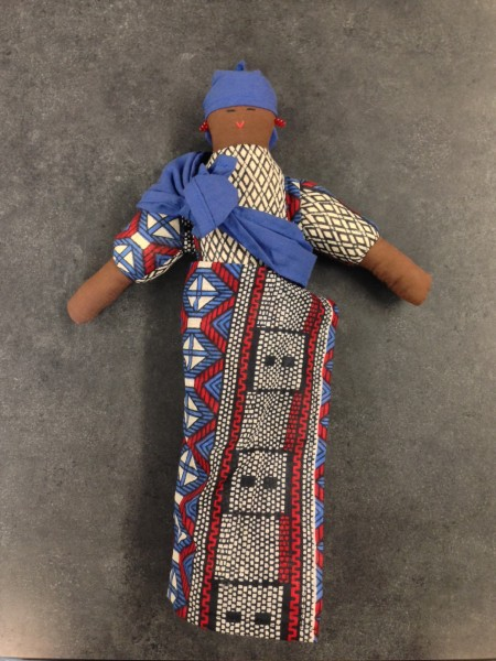 Female Figure wearing Adrinka Cloth Garments Asante culture Late 20th to early 21st century Cotton and pigment, L. 25 cm x W. 8 cm x H. 35 cm BFPC collection #2010.25