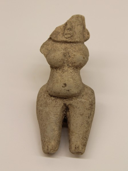 Stylized Female Figurine with Broad Hips Tlatilco culture 1500 B.C.E.-250 C.E. Ceramic, L. 4 cm x W. 2.5 cm x H. 9.9 cm Ralph Foster Museum collection #76.869.17