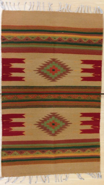 """""""Montanitas"""" Pattern Textile with White Fringe by Florentino Gutierrez Zapotec culture 20th century Wool and lanaset dyes, L. 1.08 m x W. 8 mm x H. 59.8 cm Sparkman collection #2013.21"""