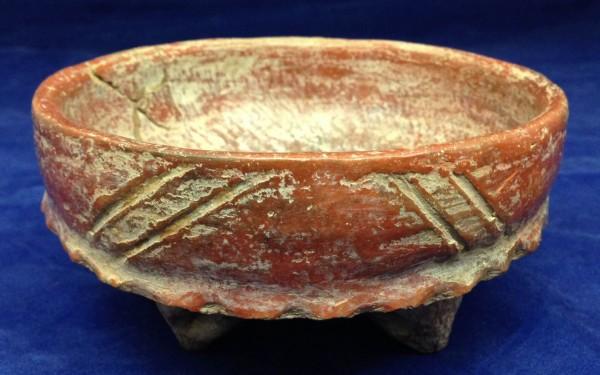 Basal Flange Tripod Bowl Chupícuaro culture 400-100 B.C.E. Ceramic and pigment, L. 14.4 cm x W. 14.4 cm x H. 7.5 cm Ralph Foster Museum collection #76.790.28