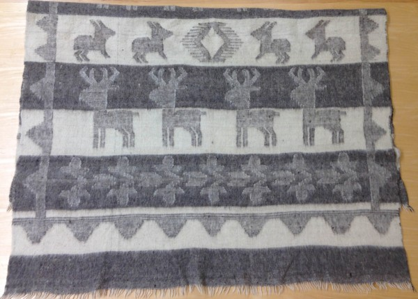 Blanket with Grey Stripes and Animal Figures Maya culture 20th century Wool and pigments, L. 1.47 m x W. 3 mm x H. 2.02 m Sparkman collection #2013.24