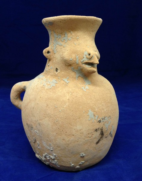 Vessel with Bird-like Face Huastec culture 900-1521 C.E. Ceramic and pigment, L. 15 cm x W. 17 cm x H. 21 cm Ralph Foster Museum collection #76.535.26