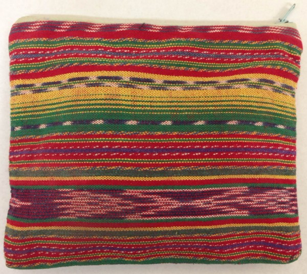 Small Multicolored Striped Pouch with Zipper from Guatemala Maya culture Early 1970s Cotton and pigments, L. 17 cm x W. 1 cm x H. 14.8 cm Edie Ballweg collection #1972.6