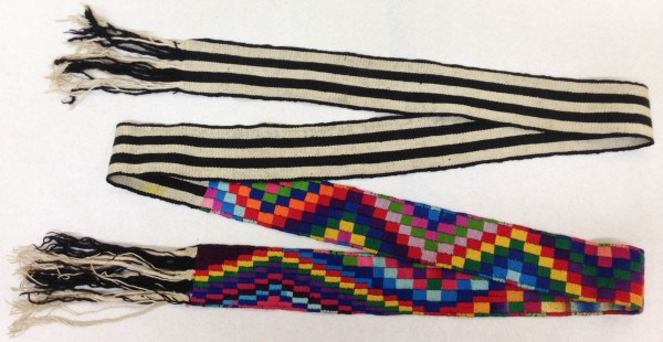 Black and White Striped Faja with Multicolored Rectangle Designs Maya culture Early 1970s Cotton and pigments, L. 2.51 m x W. 3 mm x H. 6.5 cm Edie Ballweg collection #1972.65