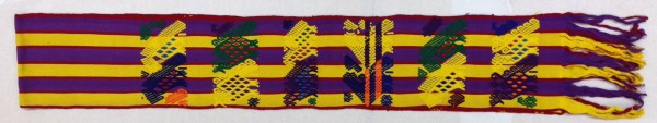 Purple and Yellow Striped Sash from San Juan Sacatepequez Cakchiquel Maya culture Early 1970s Cotton and pigments, L. 2.71 m x W. 1 mm x H. 21.7 cm Edie Ballweg collection #1972.16