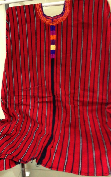 Red and Blue Striped Huipil from Santa María Chiquimula, Guatemala Quiché Maya culture Early 1970s Cotton and pigments, L. 1.1 m x W. 6 mm x H. 90.1 cm Edie Ballweg collection #1972.15