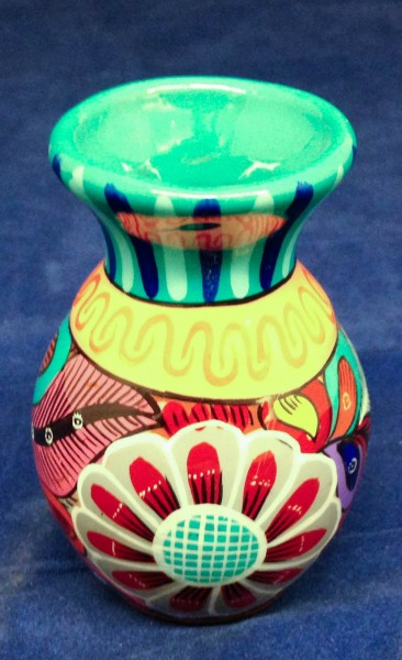 Multicolored Talavera-style Vase with Floral Designs Mexican Mestizo cultures 21st century Ceramic and glazes, L. 6 cm x W. 6 cm x H. 9 cm BFPC collection #2011.28