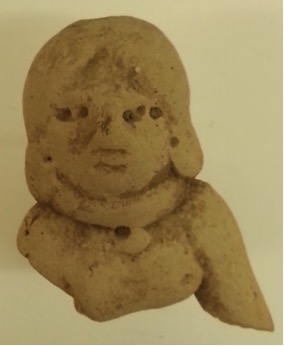 Female Figurine Wearing a Necklace Olmec culture 1500 B.C.E.-250 C.E. Ceramic, L. 4 cm x W. 2.5 cm x H. 5 cm Ralph Foster Museum collection #76.790.118