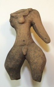 Figurine with a Tiny Waist and Wide Hips and Thighs Tlatilco culture 1500 B.C.E.-250 C.E. Ceramic, L. 5.2 cm x W. 2 cm x H. 7.8 cm Ralph Foster Museum collection #76.790.10