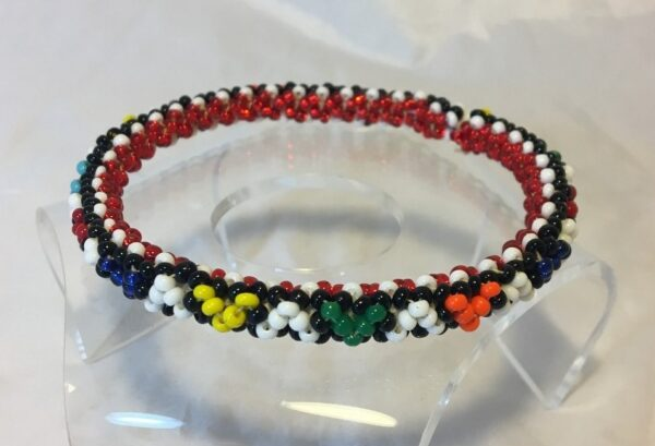 Image of Multicolored Beaded Bangle Bracelet with Triangle Pattern