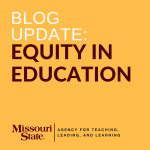 color box with words: blog update, equity in education