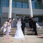 Wedding ceremony in front of Meyer Library