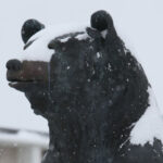 PSU bear covered in snow