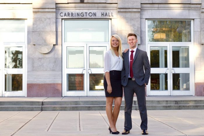 Caitlin Schafer and Brandon McCoy in front of Carrington