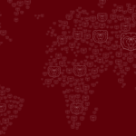 World map made of Bear head logos