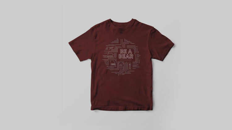 Maroon t-shirt with intricate white pattern across front