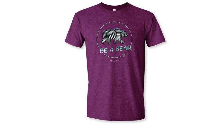 textured bear circled on a maroon t-shirt
