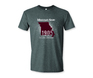 "Grey short-sleeve shirt with state of Missouri outline and text ""Missouri State,"" ""1905,"" ""College of Business"""