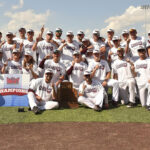 Baseball players holding up Missouri Valley Championship sign