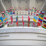 International flags in Strong Hall