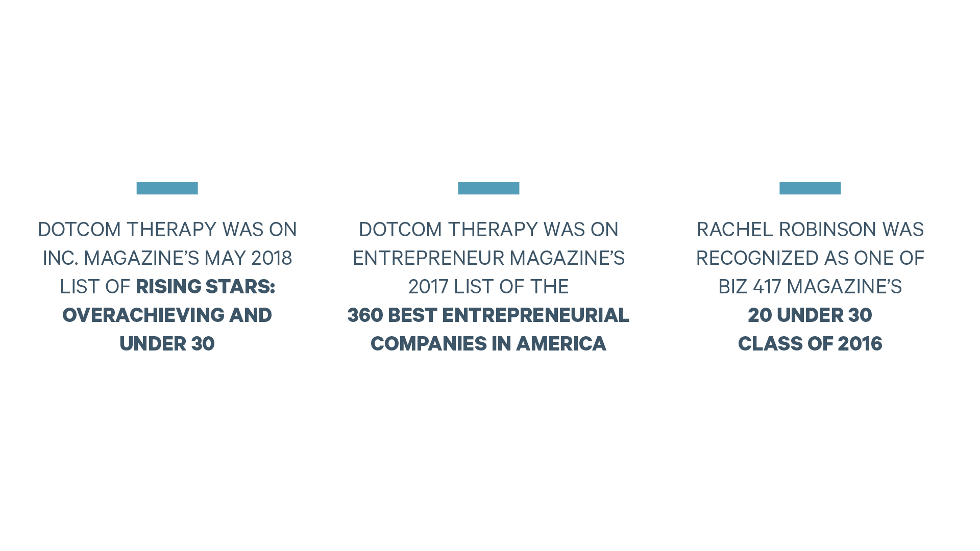 Dotcom Therapy was on Inc. Magazine's May 2018 list of rising stars: Overachieving and under 30