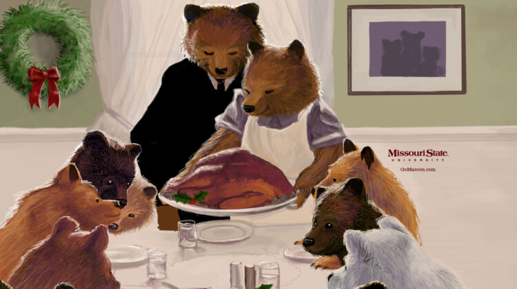 drawing of Bears gathered around a table with a turkey. Missouri State University GoMaroon.com