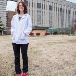 Bethanie Funderburk in front of Barnes-Jewish Hospital