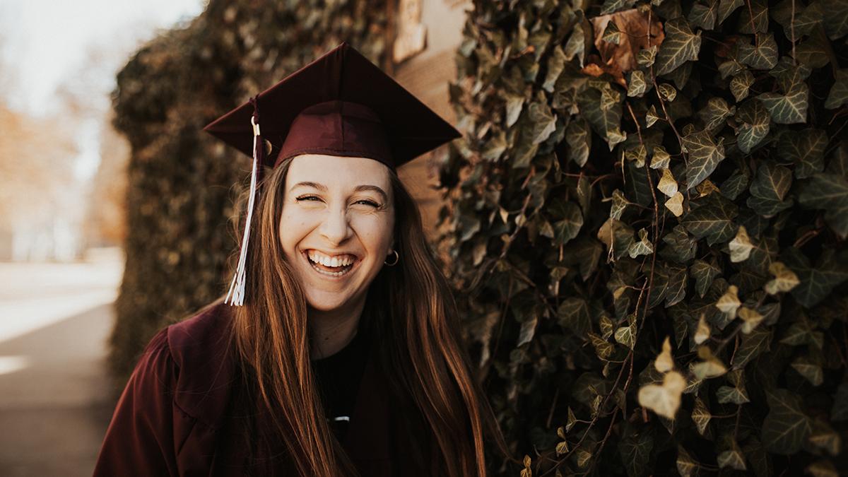Rachel Backs in her cap and gown.