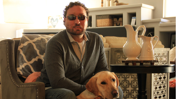 marcus engel and his dog at home