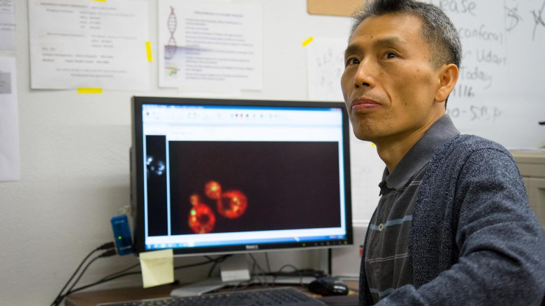 Kim in his lab
