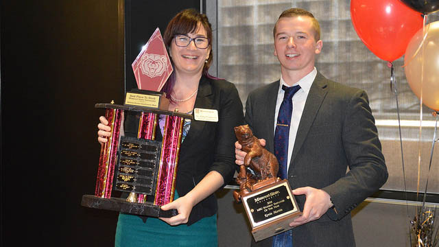 Dr. Katy Frederick-Hudson and Kevin Martin with their awards.