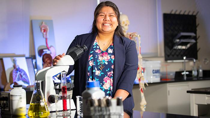 Kelly Alvarado in science lab.