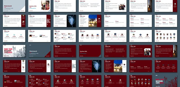 Sample of slide layouts from Statement template